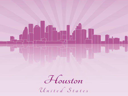 Houston skyline in purple radiant orchid in editable vector file Vector