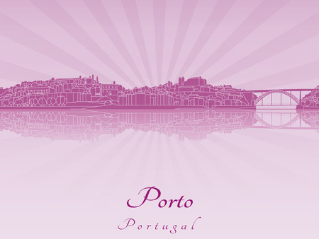 Porto skyline in purple radiant orchid in editable vector file