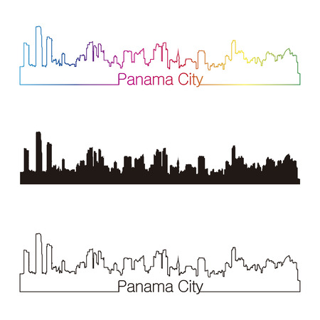 panama: Panama City skyline linear style with rainbow in editable vector file