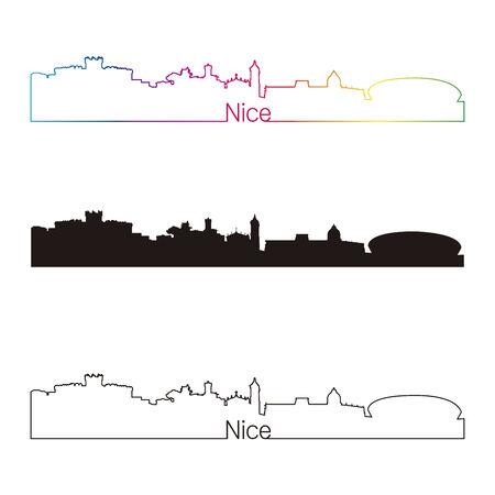 Estilo agradable horizonte lineal con el arco iris en el archivo vectorial editable