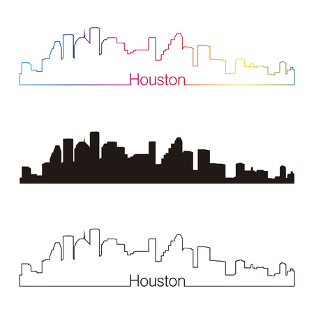 houston: Houston skyline linear style with rainbow in editable vector file Illustration