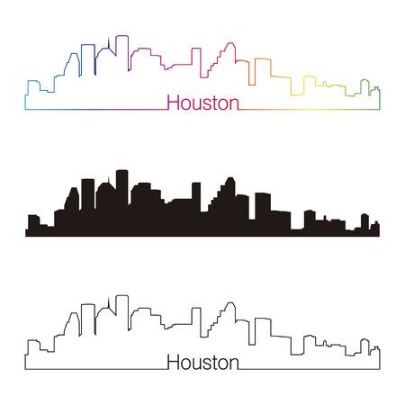 Houston skyline linear style with rainbow in editable vector file Illustration