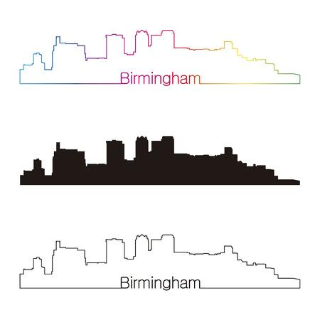 birmingham: Birmingham skyline linear style with rainbow in editable vector file