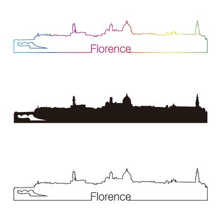 編集可能なベクトル ファイルで虹とフィレンツェのスカイライン直線的なスタイル