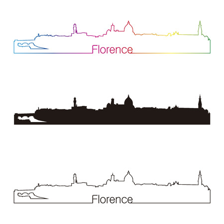 Florence skyline linear style with rainbow in editable vector file