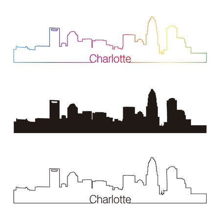 charlotte: Charlotte skyline linear style with rainbow in editable vector file