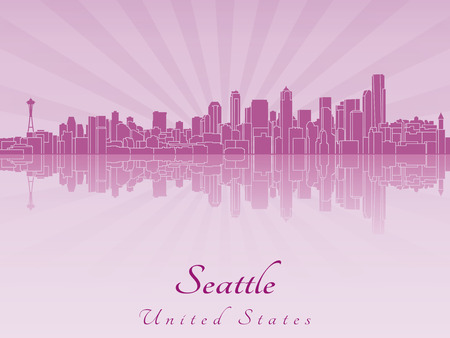 seattle skyline: Seattle skyline in purple radiant orchid in editable vector file Illustration