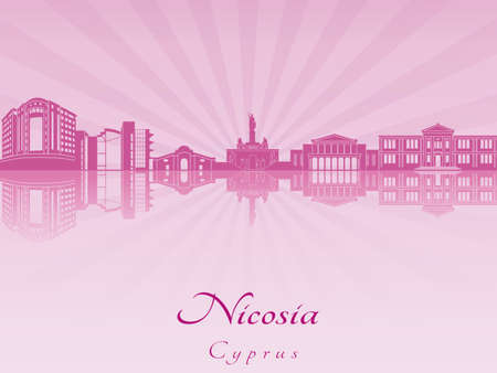 radiant: Nicosia skyline in purple radiant orchid in editable vector file