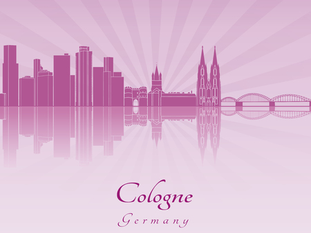 cologne: Cologne skyline in purple radiant orchid in editable vector file Illustration