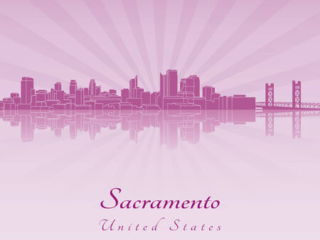 Sacramento skyline in purple radiant orchid in editable vector file