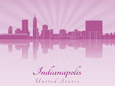 indianapolis: Indianapolis skyline in purple radiant orchid in editable vector file