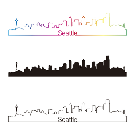 Seattle skyline linear style with rainbow in editable vector file
