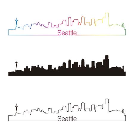 seattle skyline: Seattle skyline linear style with rainbow in editable vector file