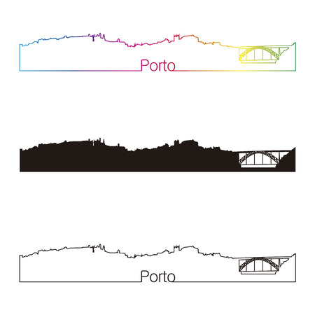 porto: Porto skyline linear style with rainbow in editable vector file
