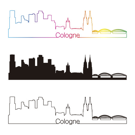 cologne: Cologne skyline linear style with rainbow in editable vector file Illustration