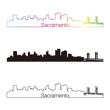 Sacramento skyline linear style with rainbow in editable vector file Illustration