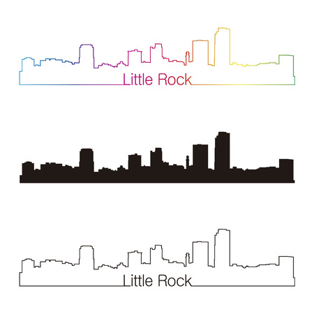 little rock: Little Rock skyline linear style with rainbow in editable vector file