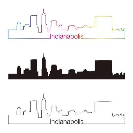 Indianapolis skyline linear style with rainbow in editable vector file Vector