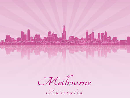 melbourne: Melbourne skyline in purple radiant orchid in editable vector file Illustration