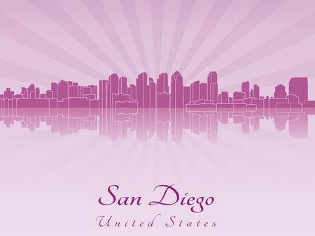 san diego: San Diego skyline in purple radiant orchid in editable vector file