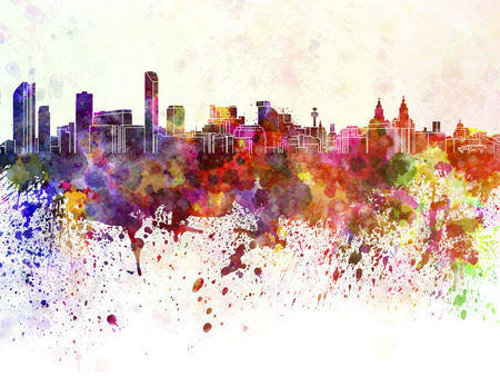 Liverpool skyline in watercolor background photo