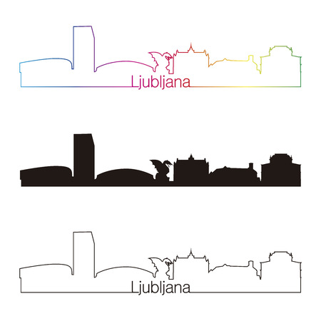 Ljubljana skyline linear style with rainbow in editable vector file