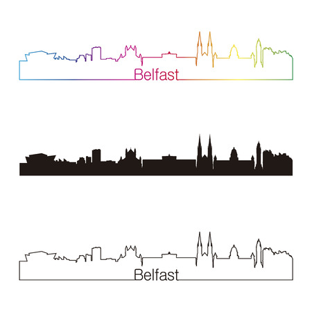 Belfast skyline linear style with rainbow in editable vector file