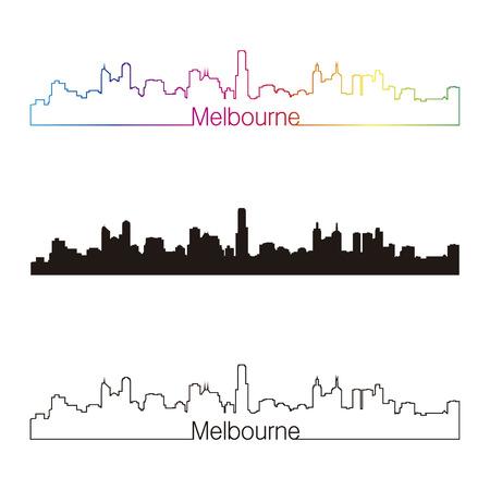 Melbourne skyline linear style with rainbow in editable vector file Vector