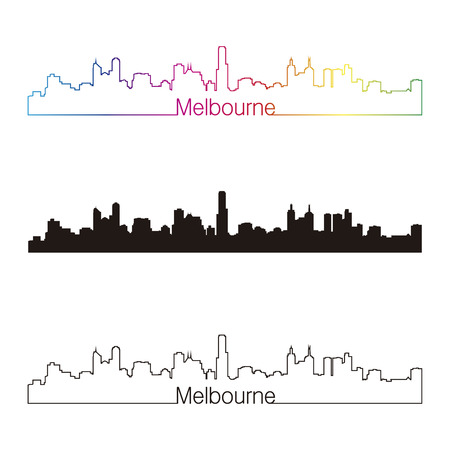 melbourne: Melbourne skyline linear style with rainbow in editable vector file