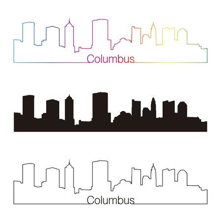 Columbus  skyline linear style with rainbow in editable vector file Vector