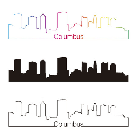 columbus: Columbus  skyline linear style with rainbow in editable vector file Illustration