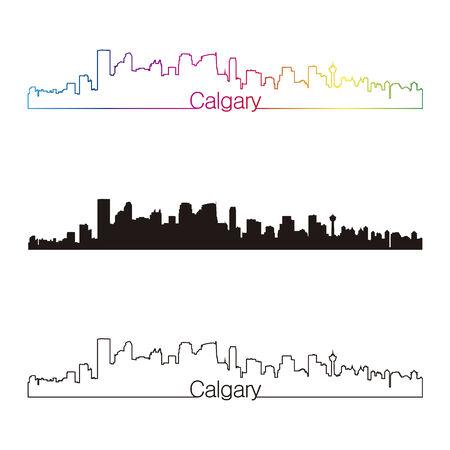 calgary: Calgary skyline linear style with rainbow in editable vector file Illustration