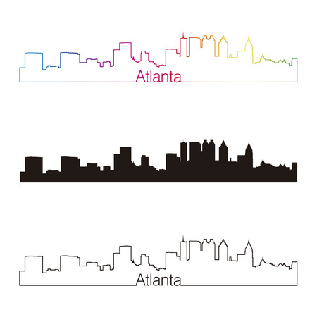 Atlanta skyline linear style with rainbow in editable vector file