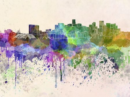 denver skyline: Denver skyline in watercolor background Stock Photo