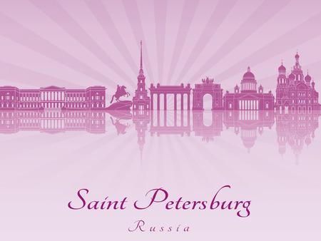 saint petersburg: Saint Petersburg skyline in purple radiant orchid in editable vector file
