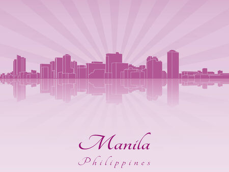 manila: Manila skyline in purple radiant orchid in editable vector file