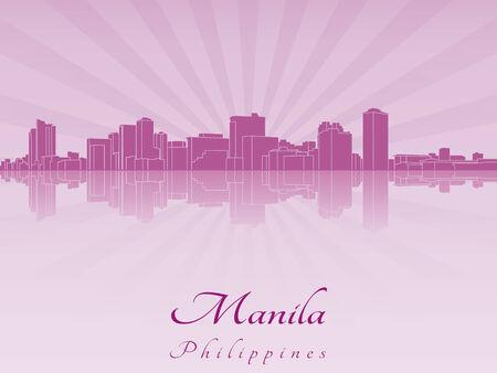 manila: Manila skyline in viola orchidea radiante in file vettoriali modificabili