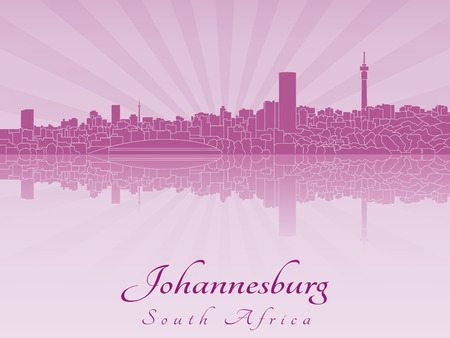 Johannesburg skyline in purple radiant orchid in editable vector file