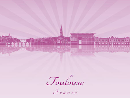 toulouse: Toulouse skyline in purple radiant orchid in editable vector file Illustration