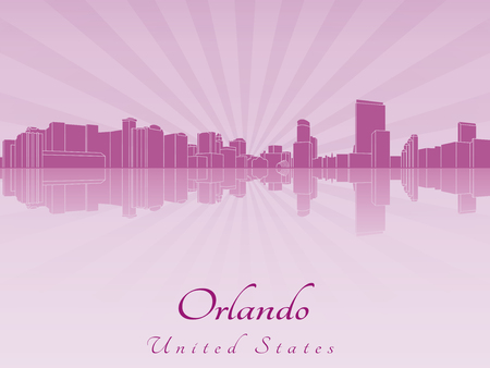 Orlando skyline in purple radiant orchid in editable vector file Vector