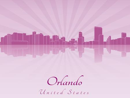 orlando: Orlando skyline in purple radiant orchid in editable vector file