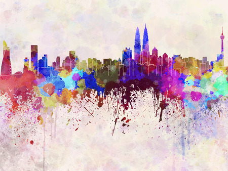 landmark: Kuala Lumpur skyline in watercolor background