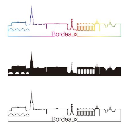 Bordeaux skyline linear style with rainbow in editable vector file