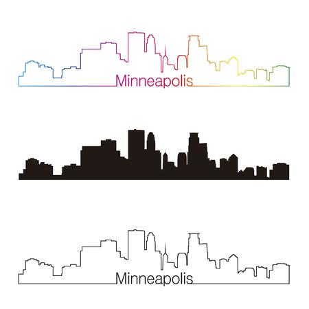 Minneapolis skyline linear style with rainbow in editable vector file Vector