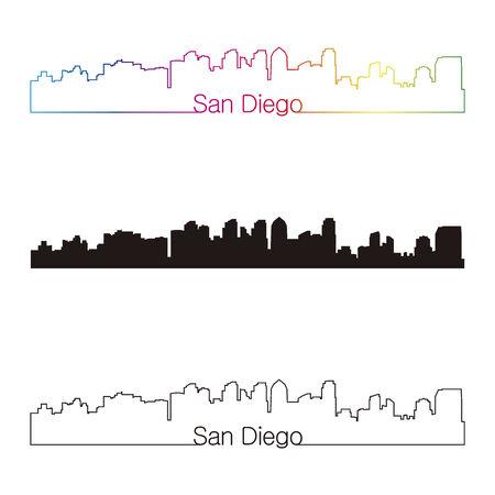 san diego: San Diego skyline linear style with rainbow in editable vector file Illustration