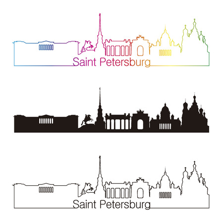 saint petersburg: Saint Petersburg skyline linear style with rainbow in editable vector file