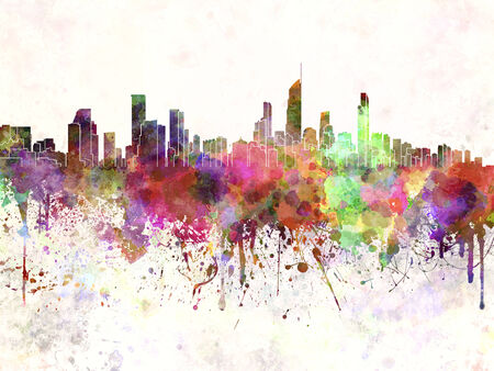 oceania: Gold Coast skyline in watercolor background