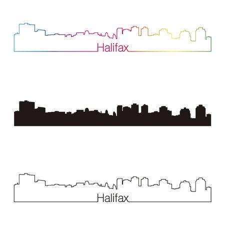 Halifax skyline linear style with rainbow in editable vector file Vector