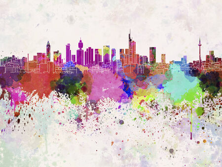 frankfurt: Frankfurt skyline in watercolor background