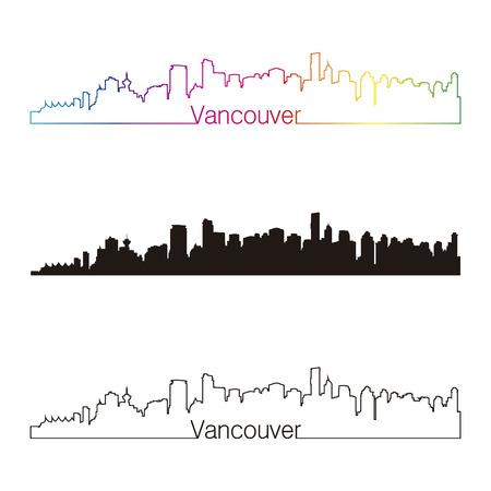 編集可能なベクトル ファイルで虹とバンクーバーのスカイライン直線的なスタイル